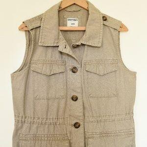 Upcycled Khaki Old Navy Vest | M